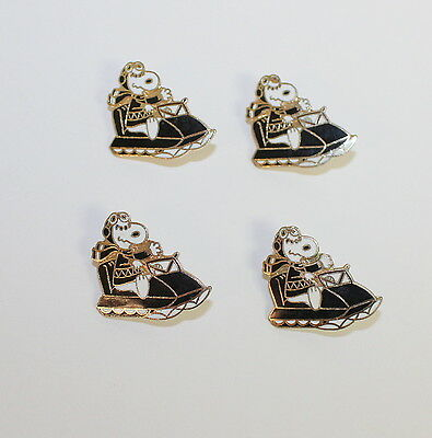 Snoopy Christmas Winter Snowmobile Lapel Hat Pin 4 Vintage 1980s Brass Pins SN04