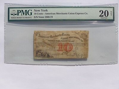 1868-73 NY. 10 CENTS AMERICAN MERCHANTS UNION EXPRESS Co. PMG VF-20 MUST SEE!!