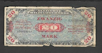 Germany 20 Mark Allied Military Currency Series 1944 - WW II - Good note