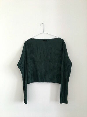 H&m Hm Trend Premium Green Silky Pleated Long Sleeve Top Xs 6 8 Pleats Please
