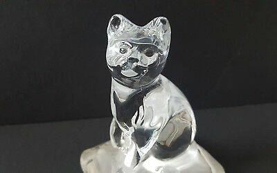 Crystal d'arques France cat pillow figurine 24% led crystal glass frosted