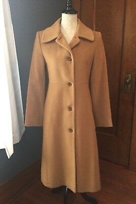 Women's Vintage Searle Cashmere Blend Coat Tan Size 6 Small