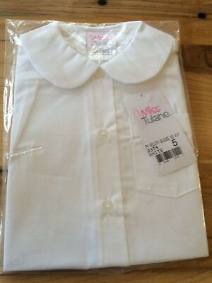 Miss Tulane Girls Uniform Peter Pan Collar Short Sleeve Pocket Blouse Size 5