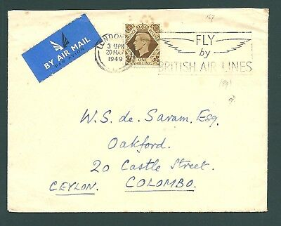 GB 1949 Air Mail cover - ''FLY by BRITISH AIR LINES'' slogan postmark to CEYLON