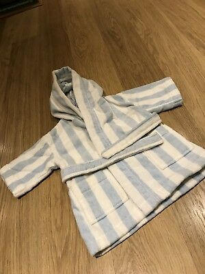 The Little White Company Dressing Gown Age 12-18 Months Blue White Stripe