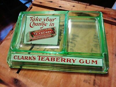 Antique Green Depression Glass General Store Display Tray-CLARK'S TEABERRY GUM