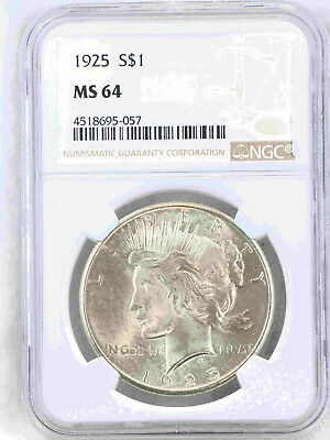 1925 Peace Dollar NGC MS64 White with Great Luster, PQ #55P