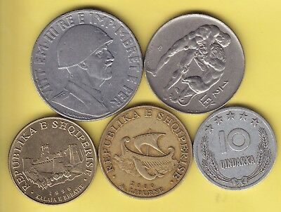 IAlbania  small lot of 5 different coins