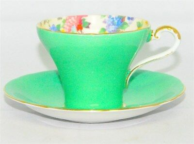Aynsley  Green Corset Teacup & Saucer  Floral Interior Border