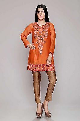 Brand New Pakistani Designer CHINYERE Shirt / Kurta - Saffron Fusion - Medium