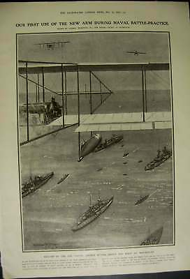 Old Antique Print Titanic Inquiry London 1912 Navy Air Arm First Use 602RN321