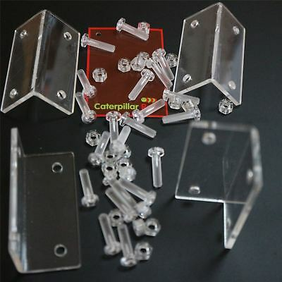 4x Angled L Brackets Polished Clear Transparent Perspex Acrylic + 20x M5 Bolts