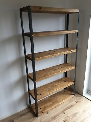 Industrial style rustic shelving bookcase display. Made to order, variety colors
