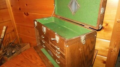 Vintage Wooden Machinist / Toolbox / CRAFTSMAN Quality 7 Drawer Tool Box