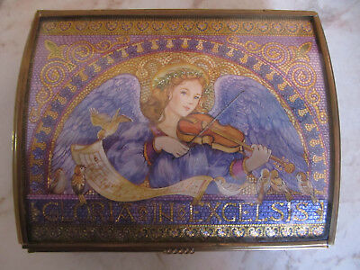 """Vintage Enesco Music Box Glass and Brass Music Box """"Angels We've Heard on High"""""""
