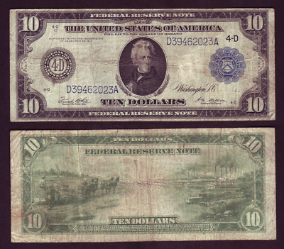 1914 Cleveland 10$ Federal Reserve Note Blue Seal White Mellon Fr-919 (P1196)