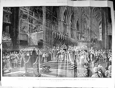 Old Print Large Rare 1902 Coronation Queen England Westminster Abbey 339J603