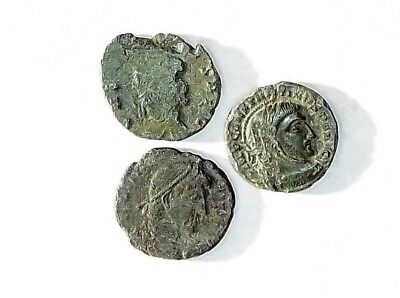 3 ANCIENT ROMAN COINS PREMIUM AE3 - Uncleaned and As Found! - Unique Lot p32802