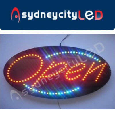 Open Sign LED Bright Animated Flashing LED Oval Round Sign Neon 38 x 68 cm