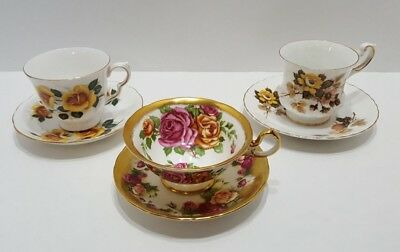 Vintage English Tea Cup and Saucer Floral Lot of 3 Bone China and Ironstone