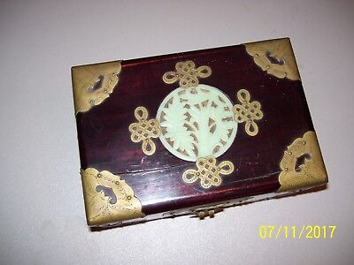 Vintage Oriental Wooden / Brass Treasure / Trinket Jewelry Box & Free Shipping