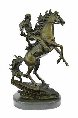 Bronco Buster Kamiko Western Cowboy Horse Rodeo  Rider Bronze Marble Statue Deco
