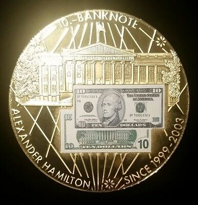 American Mint Alexander Hamilton Banknotes Of The Usa Coin Medal $10 Frn Note