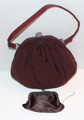Vintage Deep Burgundy Purse with Rhinestone Clasp and Coin Purse