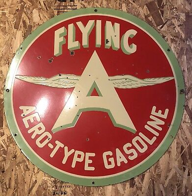 "Associated Flying A Gas 36"" Chicken Wing Porcelain Sign / Aero Type Gasoline Oil"