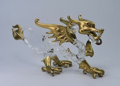 Dragon (B) Gold and Clear of Blown Glass Crystal