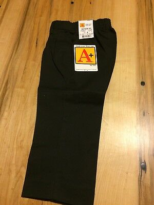 A+ School Apparel Boys Uniform Front Pleated Adjustable Relaxed Black Pants