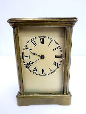 Antique c.1890 Miniature French Brass Carriage Clock WORKS Signed L F