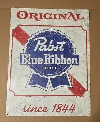 "Pabst Blue Ribbon Original Logo Metal Beer Sign 24x18"" - Brand New!"