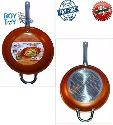 Copper Frying Pan Non Stick Ceramic Infused Scratch Proof Titanium Steel Fit