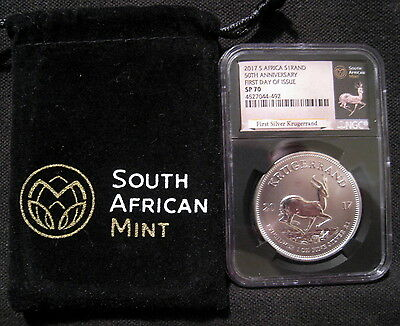 2017 South Africa $1 Rand NGC SP70 First Day Of Issue KRUGERRAND 1st Year Silver