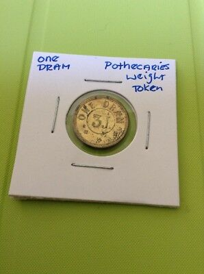 One Dram Weight Coin Token Pothecaries Weight
