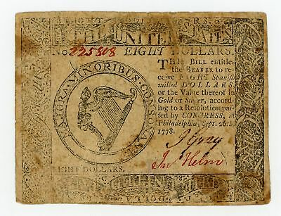 (CC-81) Sept. 26th, 1778 $8 Continental Currency Note