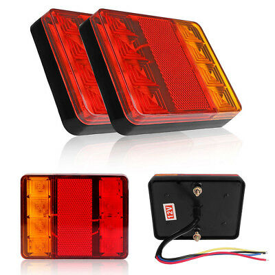 2pcs LED Trailer Truck Tail Lights Indicator Brake Stop Light Lamp Replacement