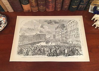 Original Antique Civil War COLORED INFANTRY New York City Engraved Panoramic Map