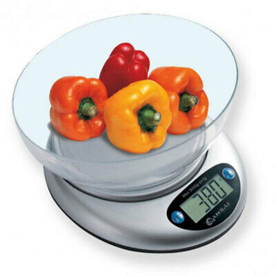 Sansai Electronic Digital Kitchen Scale w/Bowl 1g-3kg Food/Cook Measuring White