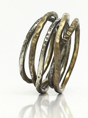 HANDMADE Solid Sterling Silver 925  Intertwined Textured Ring 5.59g Size 8