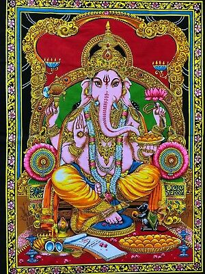 indian wall hanging cotton fabric art god Ganesh