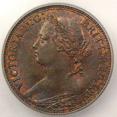 1879 Britain Farthing ICG MS65 - RARE Gem BU Uncirculated Coin!
