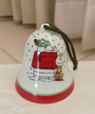 Vtg Peanuts Snoopy & Charlie Brown Porcelain Bell Christmas Ornament Japan 1965