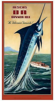 Reschs DA what a catch! 465x890mm paper poster beer bar fishing sea marlin