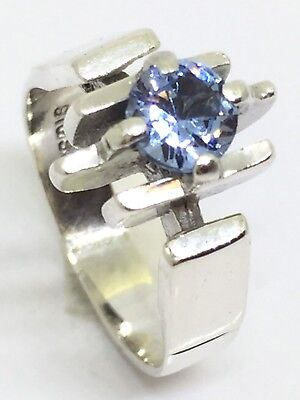 VINTAGE Retro Solid Sterling Silver 925 Modernist Design Ring With Blue Stone