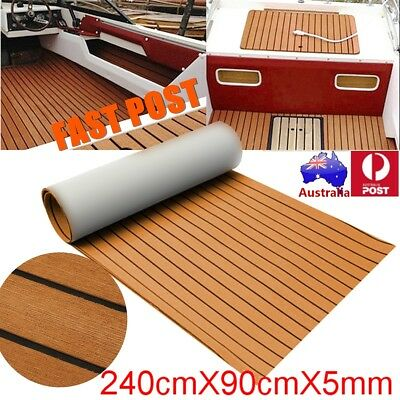 Marine Flooring Teak EVA Foam Boat Decking Sheet 2.4M Self-Adhesive - Brown