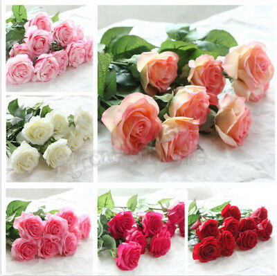 10/20 Head Real Touch Latex Rose Artificial Flowers Bouquet Wedding Home Decor