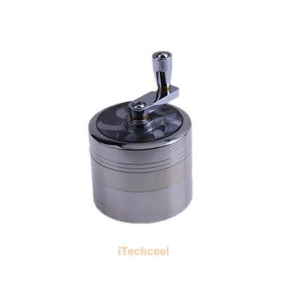 4-Layers Smoke Grinder Herb Zinc Alloy Hand Crank Herbal Tobacco Grinders Silver