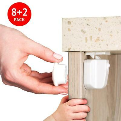 Magnetic Child Proof Safety Locks For Cabinets & Drawers. 8 2 Keys Set. Easy...